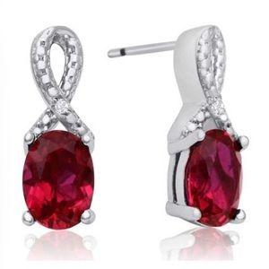 Jewelry - Platinum Plated Lab Created Ruby/Diamond Earrings